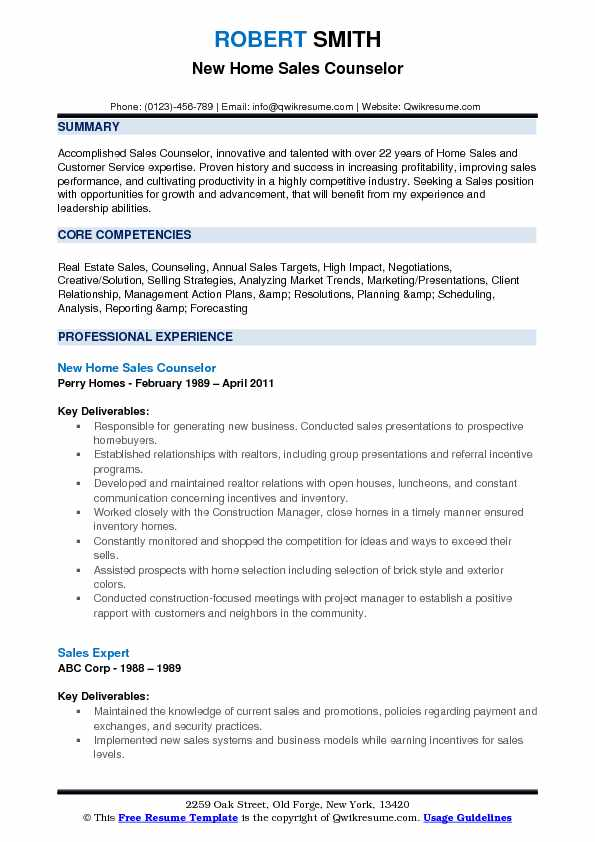 Sales Counselor Resume Samples | QwikResume