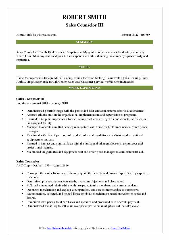 Sales Counselor III Resume Template
