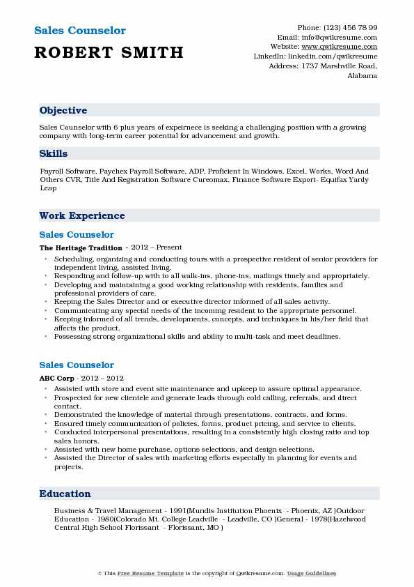 Sales Counselor Resume Model