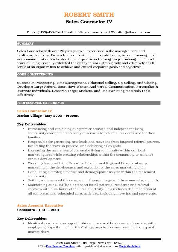 Sales Counselor IV Resume Example