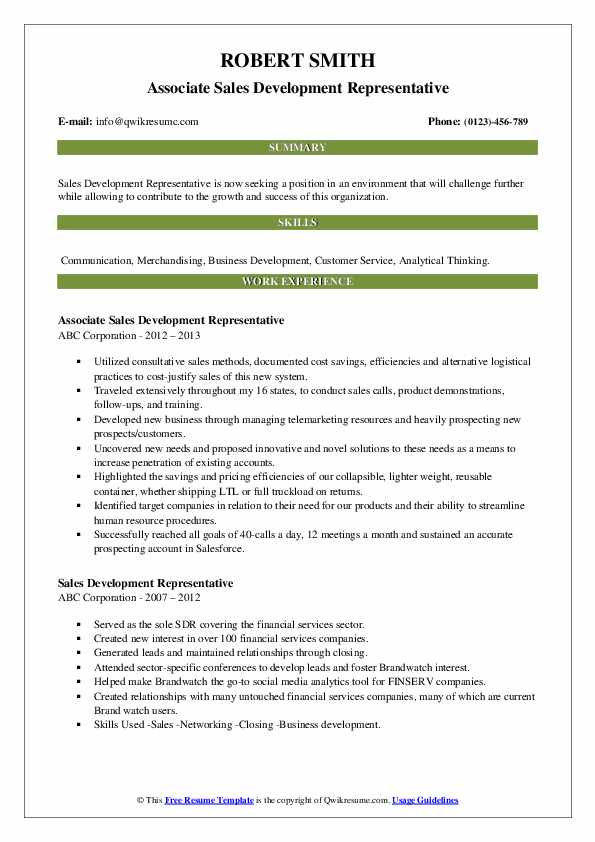 Associate Sales Development Representative Resume Example