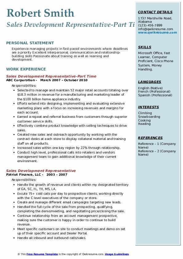 Sales Development Representative-Part Time Resume Sample