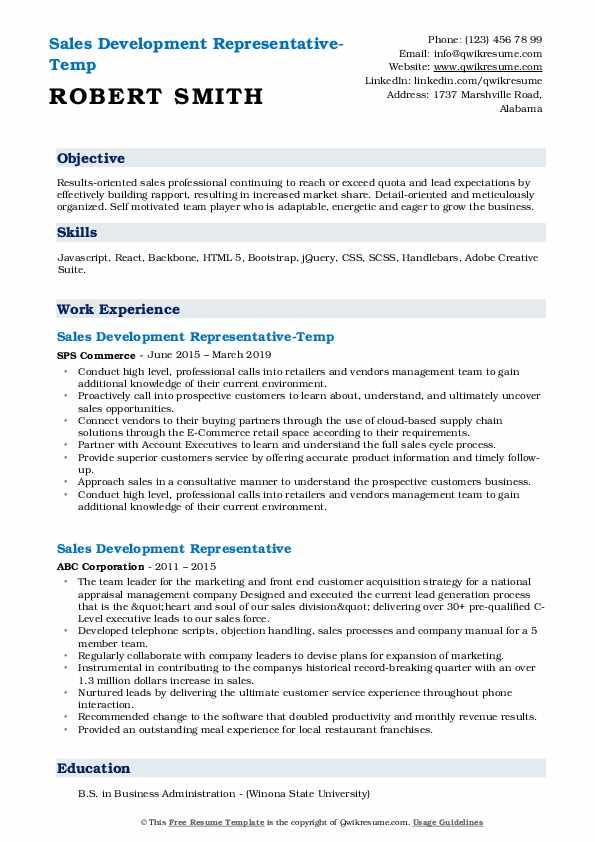 Sales Development Representative-Temp Resume Model