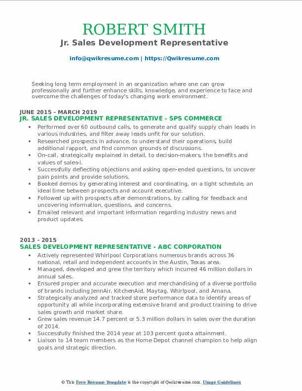 Jr. Sales Development Representative Resume Example