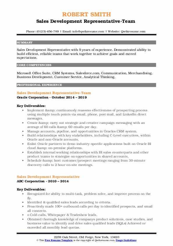 Sales Development Representative-Team  Resume Sample