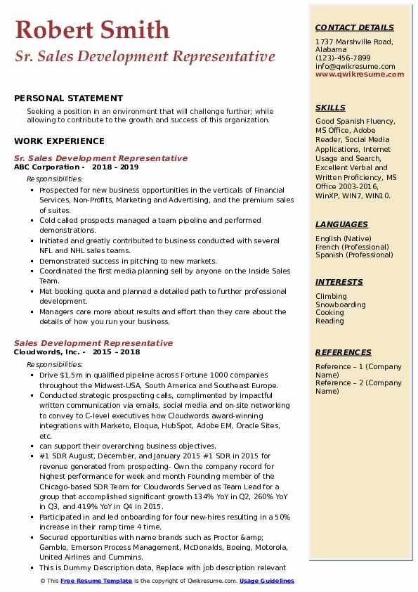 Sr. Sales Development Representative Resume Template