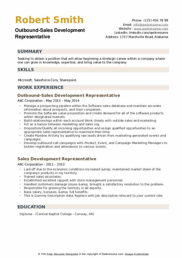 Outbound-Sales Development Representative Resume Sample