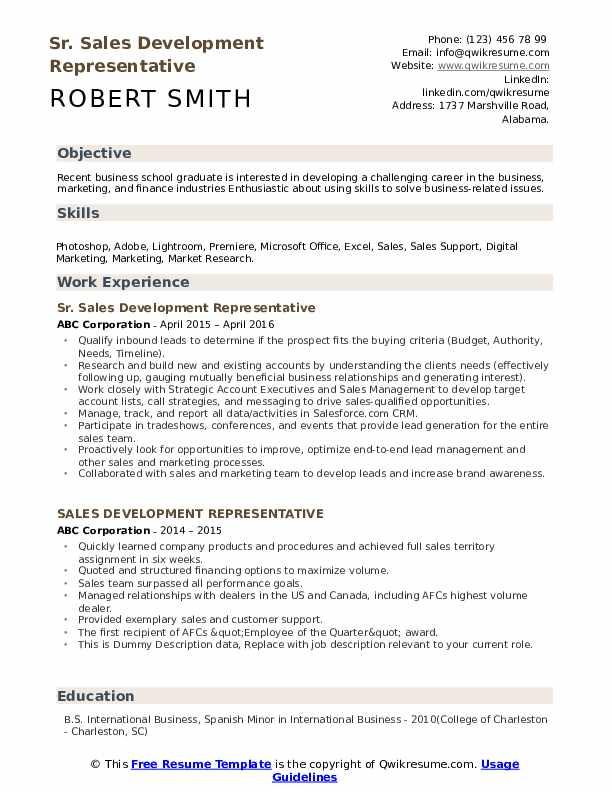 Sr. Sales Development Representative Resume Example
