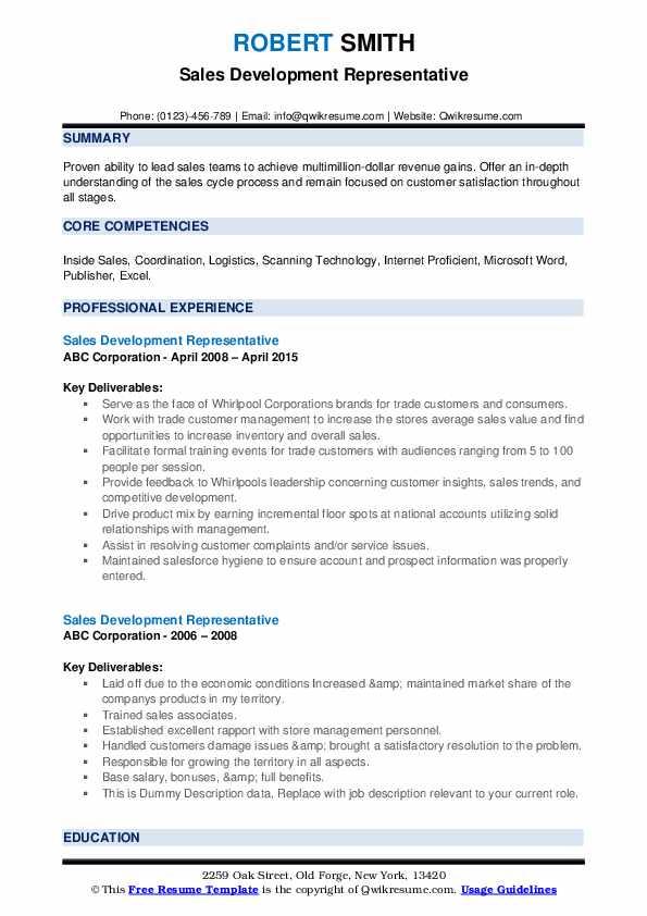 Sales Development Representative Resume example