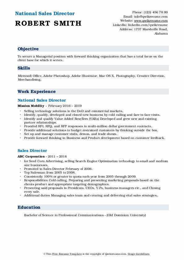 National Sales Director Resume Example