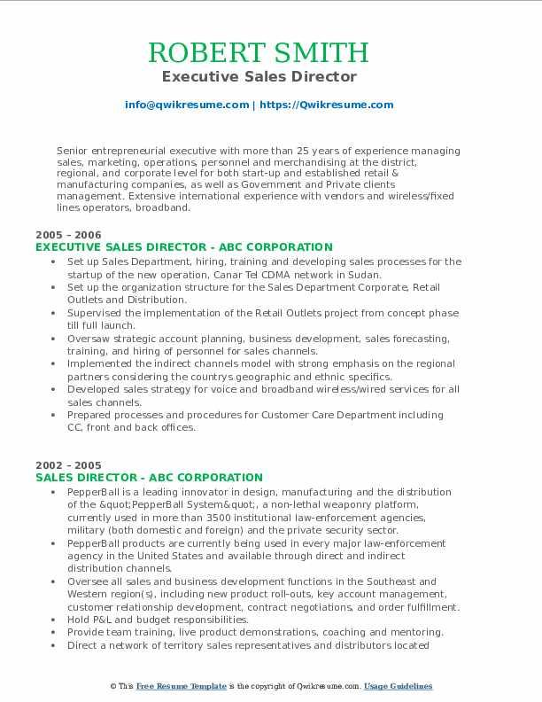 Executive Sales Director Resume Format
