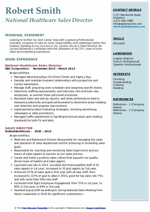 National Healthcare Sales Director Resume Template