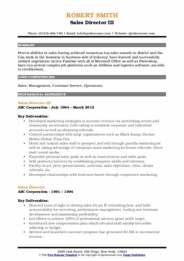 Sales Director III Resume Template