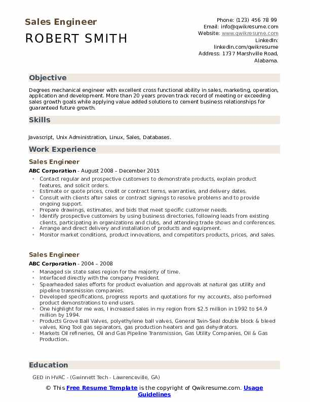 Sales Engineer Resume Format