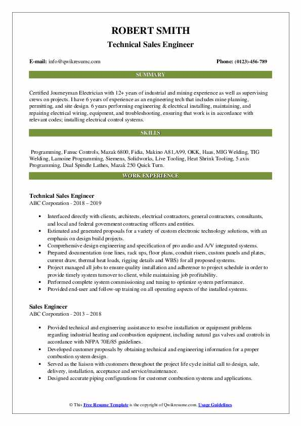 Technical Sales Engineer Resume Format