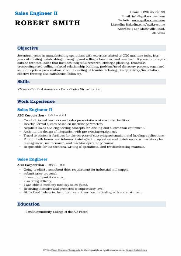 Sales Engineer II Resume Example