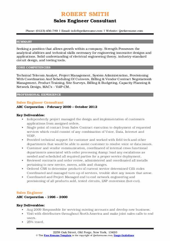 Sales Engineer Consultant Resume Sample