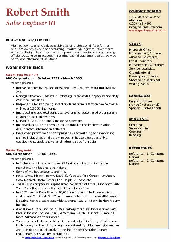 Sales Engineer III Resume Format