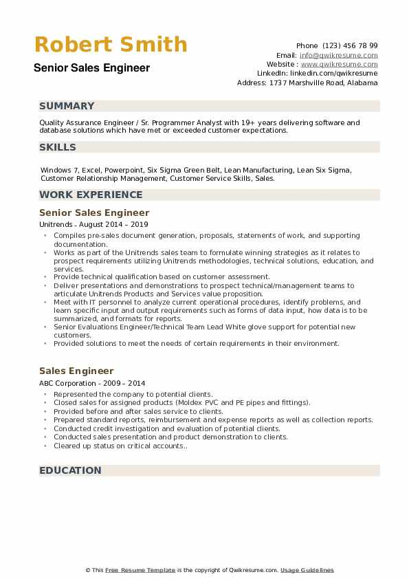 Senior Sales Engineer  Resume Model