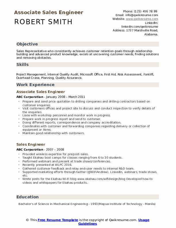 Associate Sales Engineer Resume Sample
