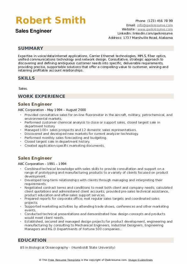 Jr. Regional Sales Representative Resume Format