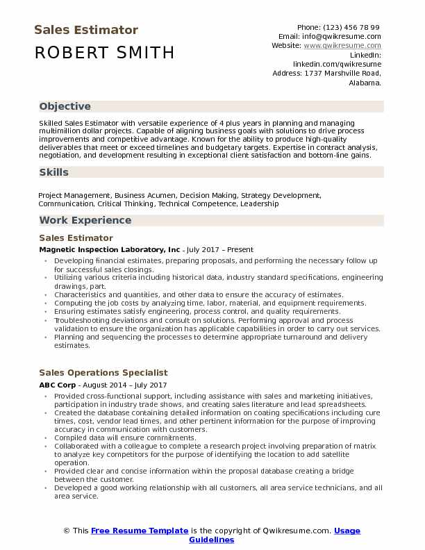 Sales Estimator Resume Example
