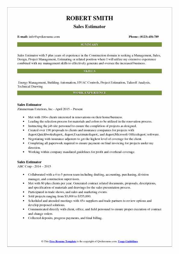 Sales Estimator Resume Template