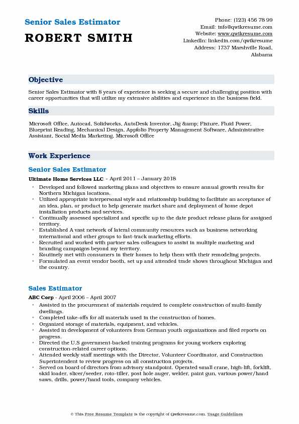 Senior Sales Estimator Resume Model