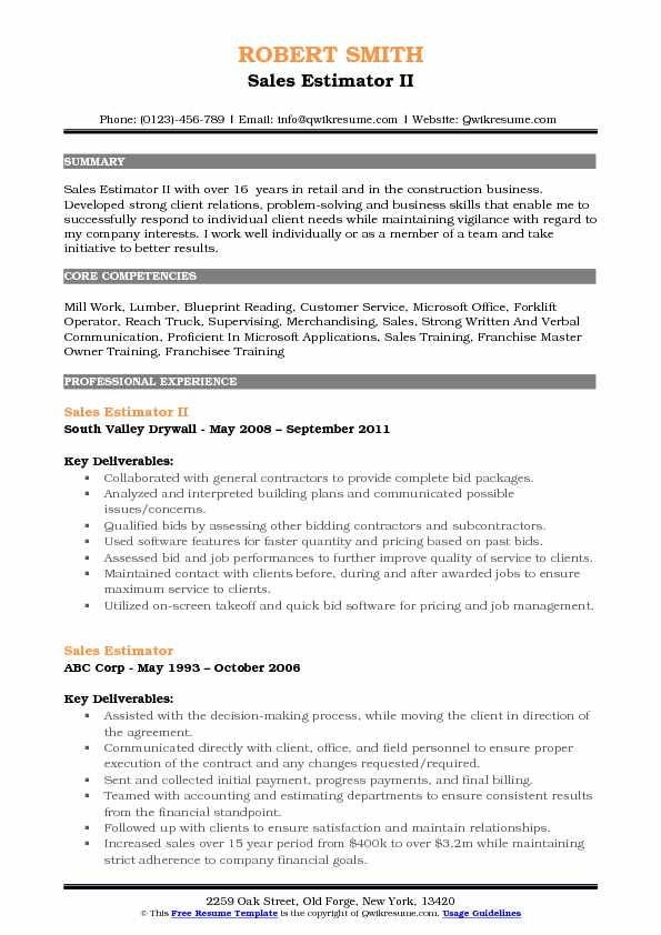 Sales Estimator II Resume Format