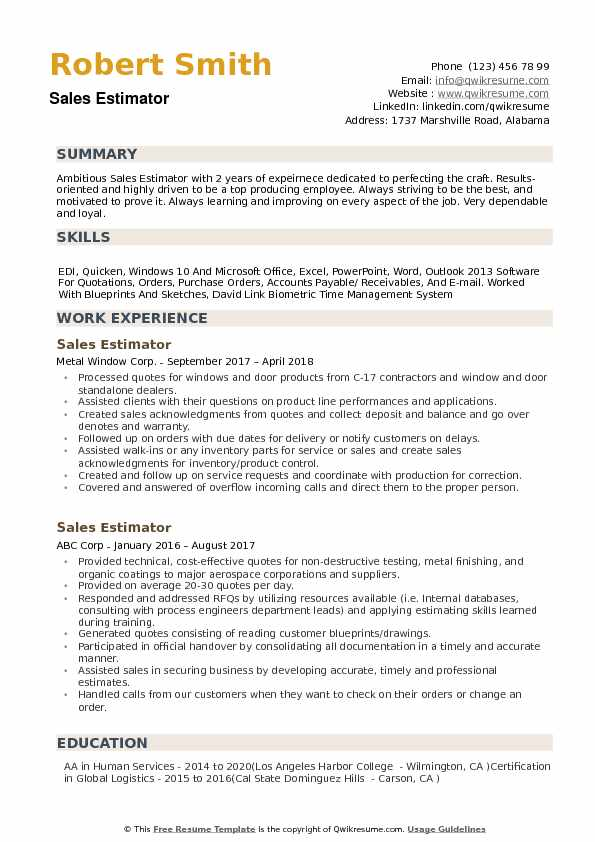 sales estimator resume samples