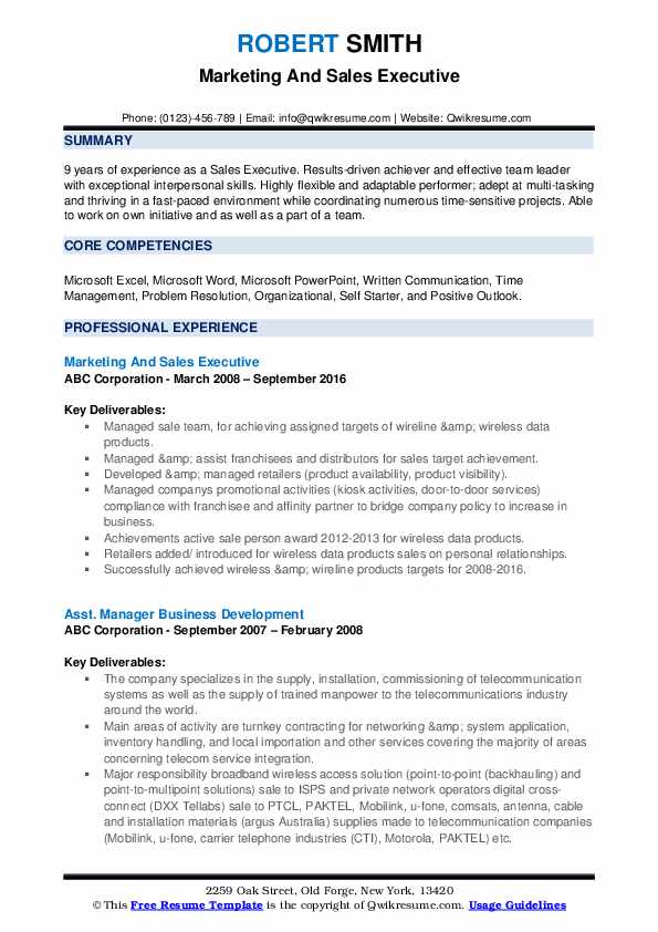 Marketing And Sales Executive Resume Template