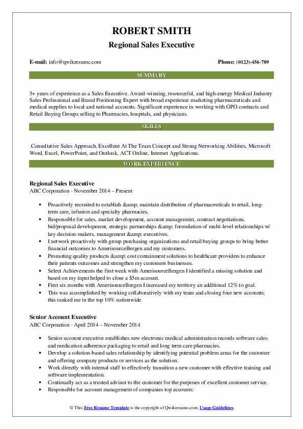 Regional Sales Executive Resume Sample