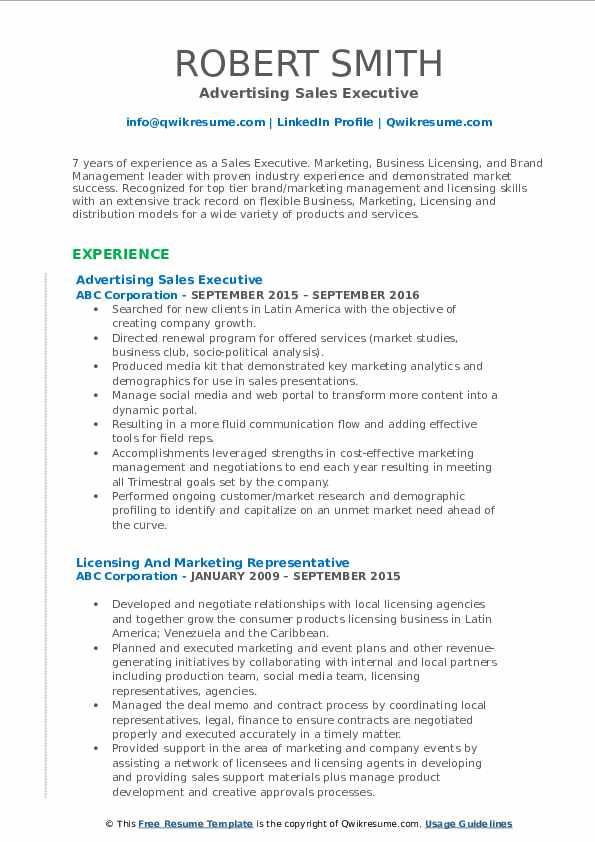Advertising Sales Executive Resume Model