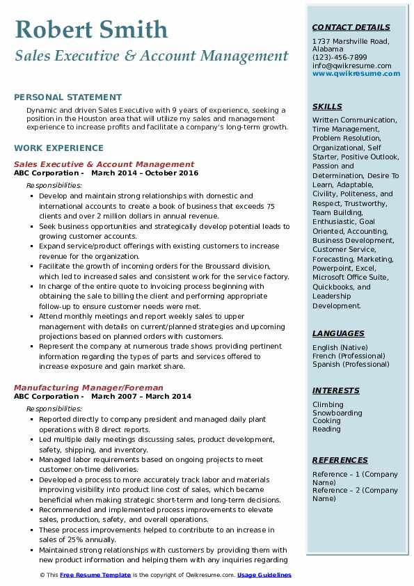 Sales Executive & Account Management Resume Example