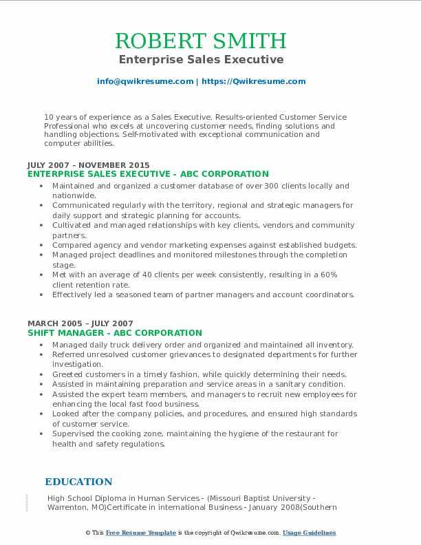 Enterprise Sales Executive Resume Format