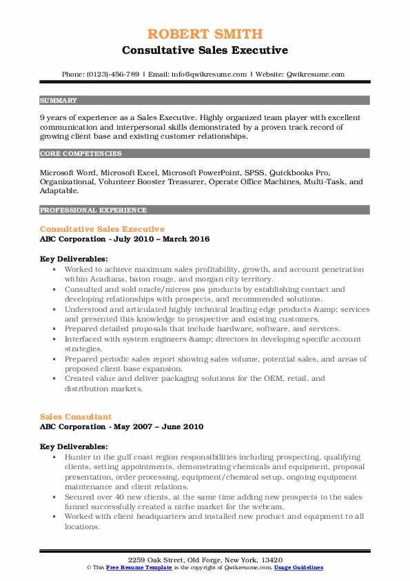Consultative Sales Executive Resume Sample
