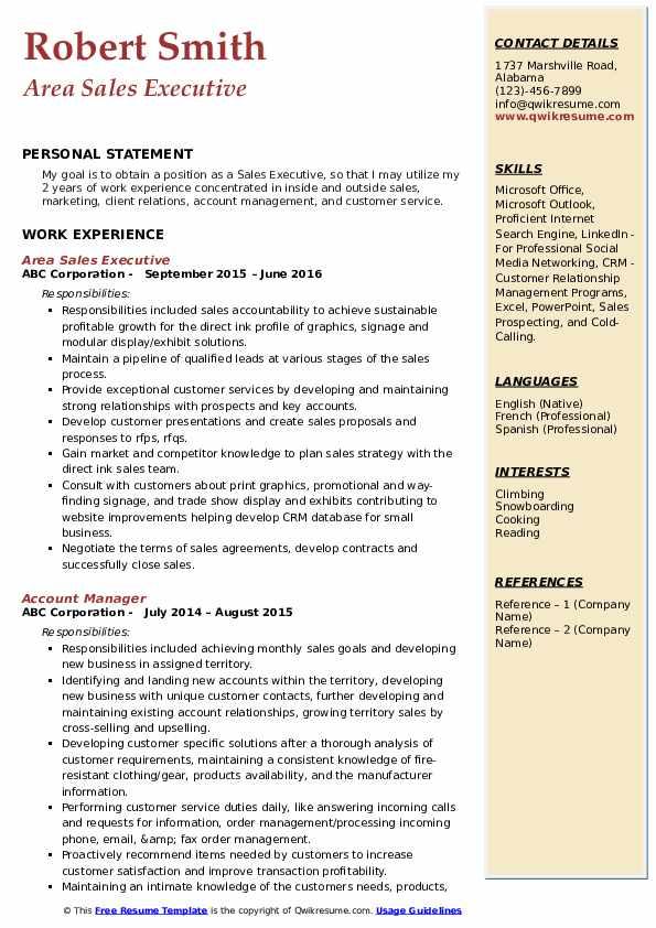 Area Sales Executive Resume Sample