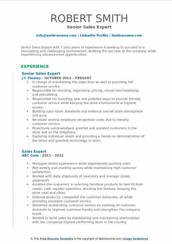 Senior Sales Expert Resume Sample