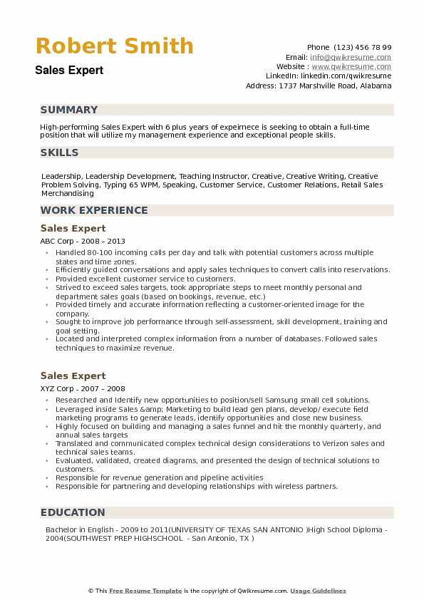 Sales Expert Resume example