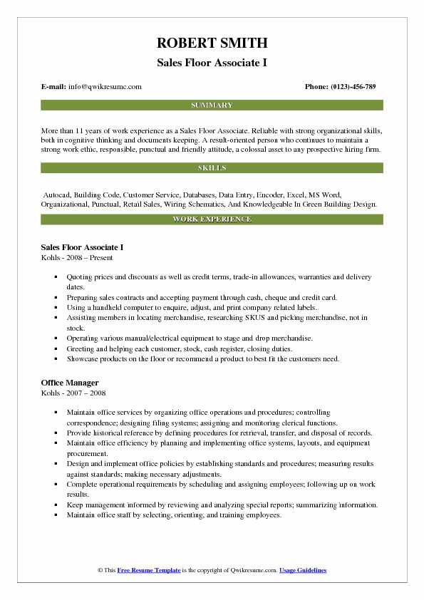 Sales Floor Associate I Resume Format