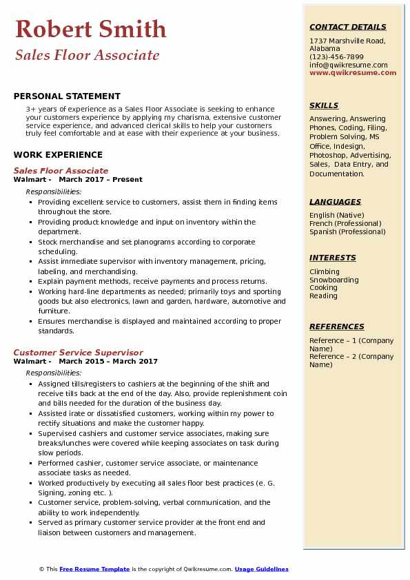 Sales Floor Associate Resume Sample