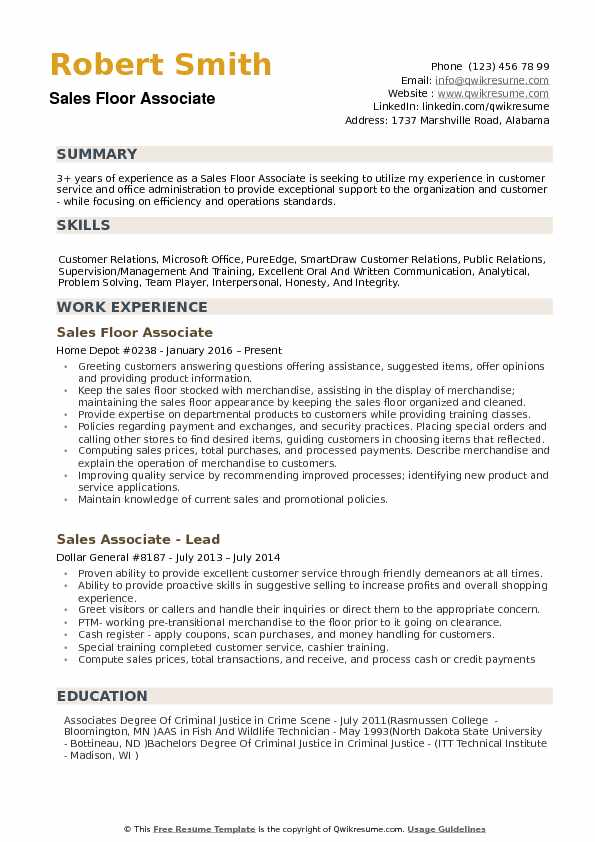 sales floor associate resume samples