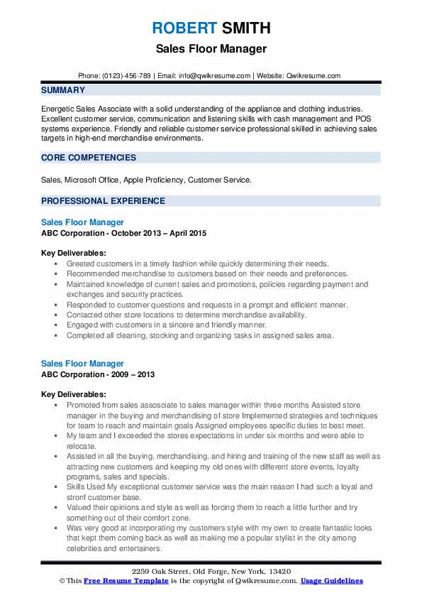 Sales Floor Manager Resume example