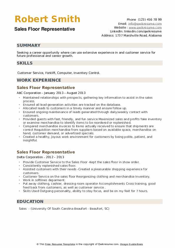 Sales Floor Representative Resume example