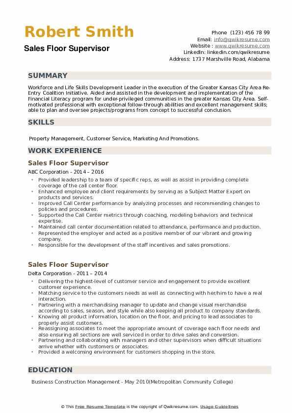 Sales Floor Supervisor Resume example
