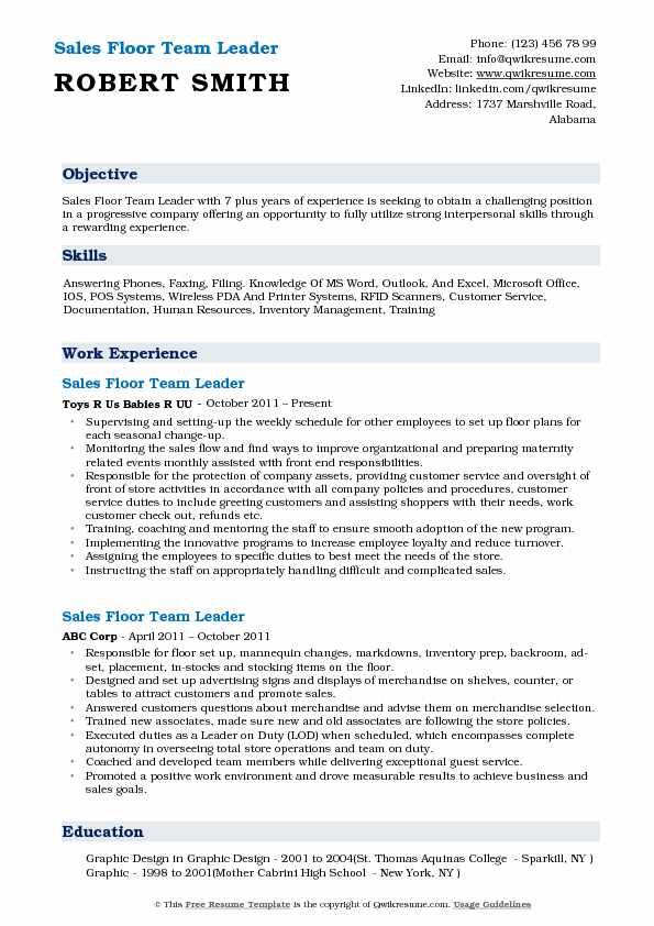 sales floor team leader resume samples