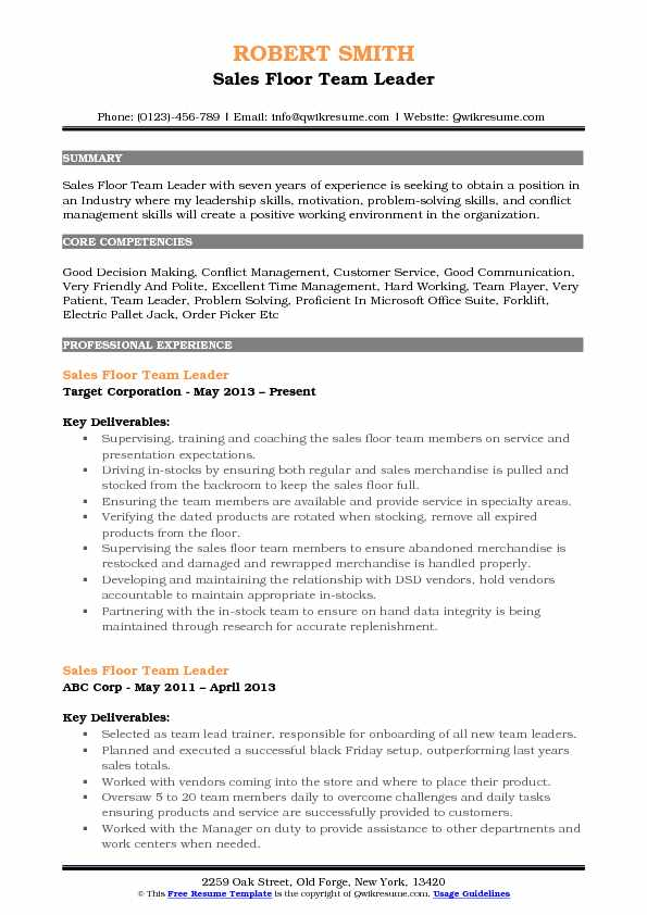 Sales Floor Team Leader Resume Samples | QwikResume