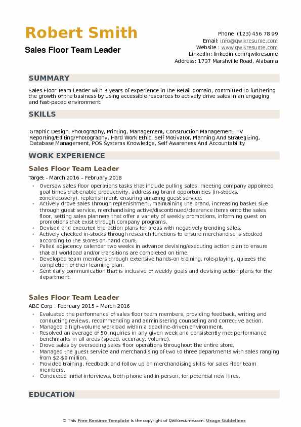 sales floor team leader resume samples
