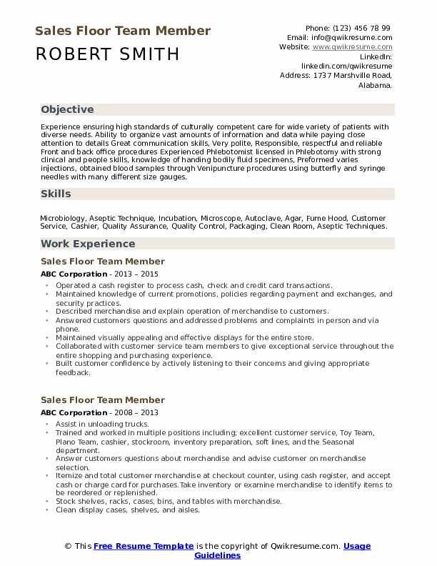 Sales Floor Team Member Resume Format