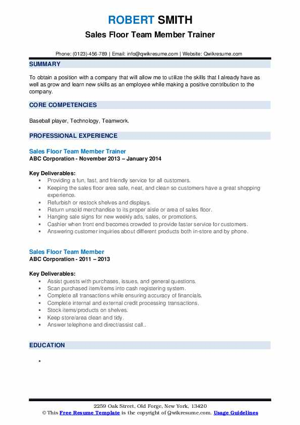 Sales Floor Team Member Trainer Resume Format
